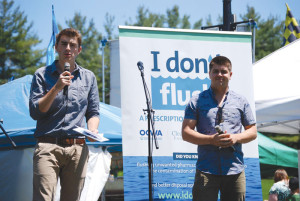 Alex and Tyler Mifflin of TVO's The Water Brothers launch the I Don't Flush campaign. Credit: CWF and OCWA