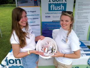 I Don't Flush staff members show off returned medications at a take back event. Credit: CWF and OCWA