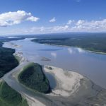 Aerial of the Mackenzie River, Northwest Territories, Canada