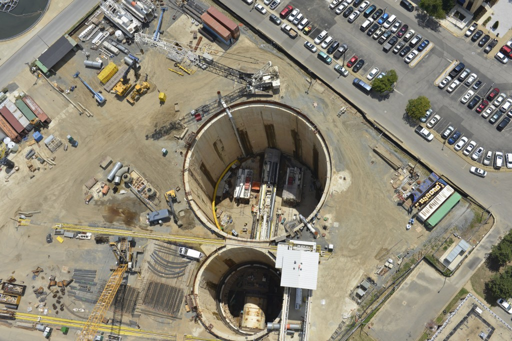 An aerial view of the Blue Plains Tunnel, part of DC Water's Clean Rivers Project to bring the District of Columbia into compliance with the Clean Water.